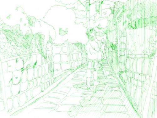 京都のどっか、一発描き