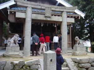 熊野神社にて。