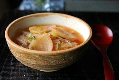 キムチ風味春雨スープ2