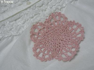桜の花のミニドイリー ピンク