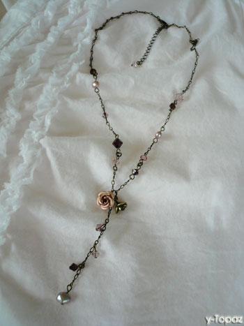 金古美×ヴィンテージローズのY字型ネックレス1