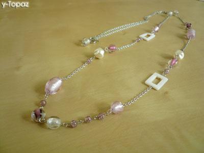 いろいろなピンクのロジウム・ロングネックレス3