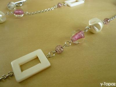 いろいろなピンクのロジウム・ロングネックレス5