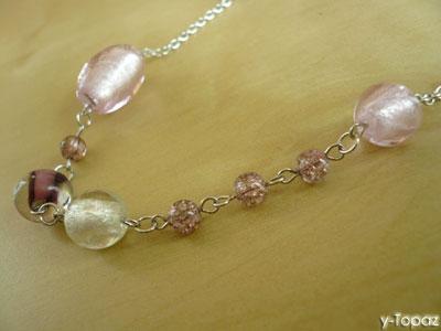 いろいろなピンクのロジウム・ロングネックレス6