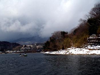 北山湖は雪景色・・
