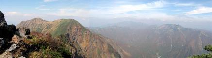 一ノ倉岳から朝日岳パノラマ