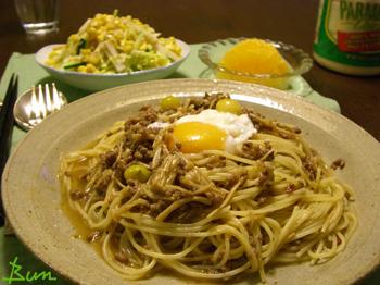Apr21_挽肉とえのきの佃煮風パスタ