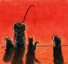 釣り・夕焼け
