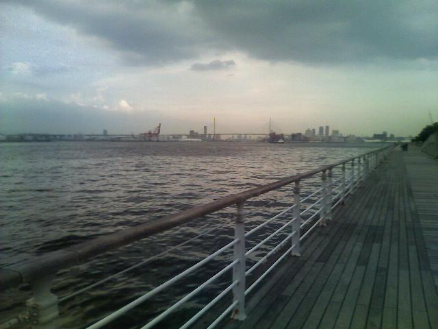 コスモスクエアから大阪港を望むの図