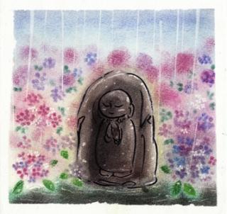 紫陽花と地蔵さん