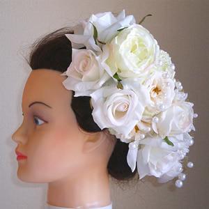 4種の大輪ホワイトローズのウエディング髪飾り