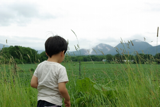 子供と硫黄山