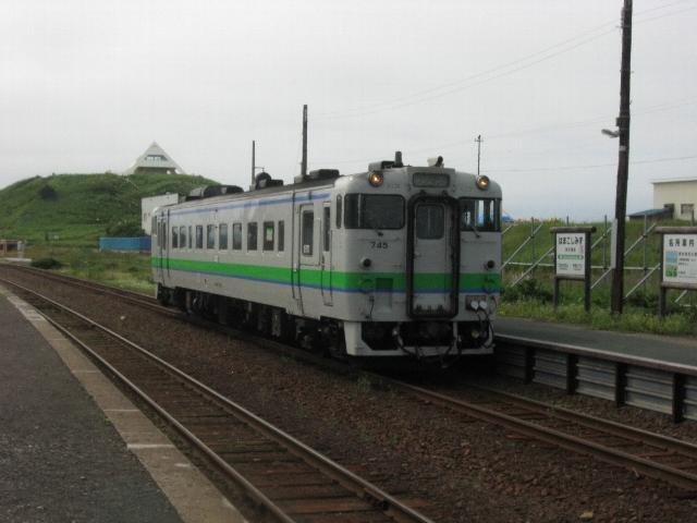浜小清水駅に到着したワンマン列車