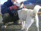 母犬と保護主さん