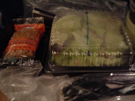 ユナイテッド航空シンガポール行、エコノミークラス機内食