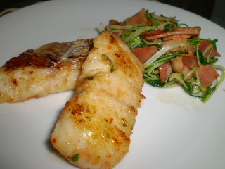 白身魚の香味焼き&水菜とベーコンの炒め物0223