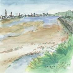 綾川から瀬戸大橋を望む