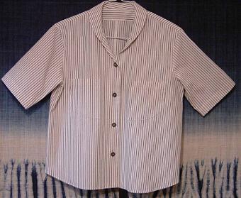 ネットショッピング 加茂縞織りブラウス 白縞 002