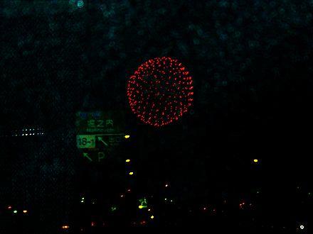 高速道路から見える堀之内の花火