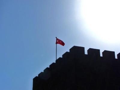 カイセリ城のトルコ国旗