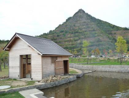 水車小屋と五天山公園