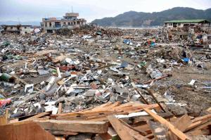 地震と大津波に襲われた吉里吉里地区