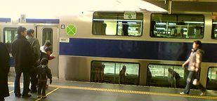 常磐線普通列車の二階建てグリーン車両(終点上野駅にて撮影)