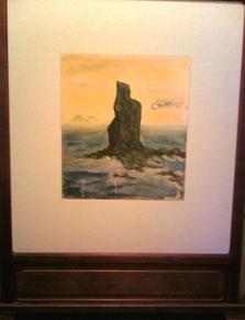 義母が描いた日本画(枕崎・立神岩)