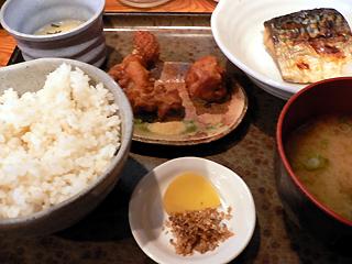 唐揚げと塩鯖の定食
