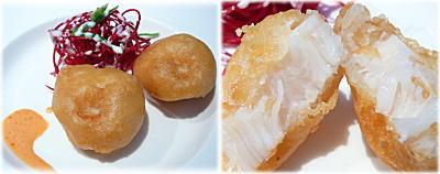 帆立貝の揚げ物 ビーツサラダ添え