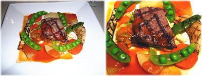 やわらか仔牛の網焼き トマトソース 3種の香りと温野菜いろいろ