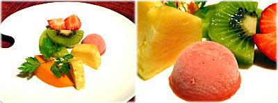 苺のシャーベット&フルーツ