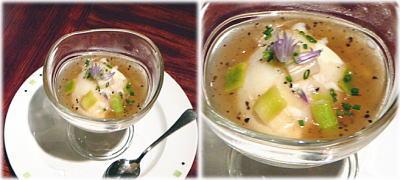 京都園部の平飼い有精卵の68℃温度卵とポロ葱、黒トリュフのジュレ