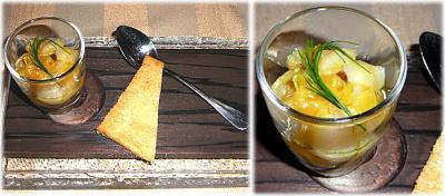 陸奥湾帆立貝とウイキョーのタルタル、アーモンドとドライレーズン風味