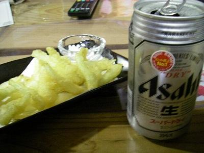 島らっきょ&ビール