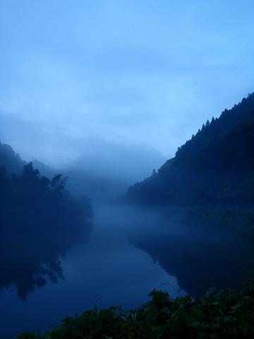 朝靄の風景