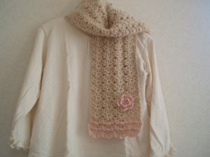 松編みマフラー