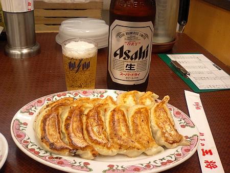 ビンビール&餃子