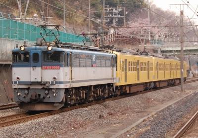 9865レ EF65-1066[新]+西武新101系 近江鉄道甲種 東戸塚にて