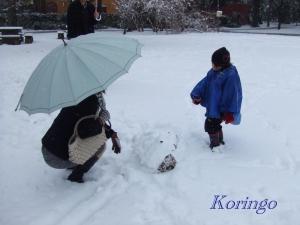 2009年2月27日雪だるま作り