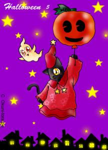 ハロウィン~ネコとカボチャ風船5