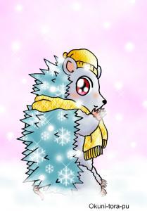 ハリネズミさん、雪まみれ