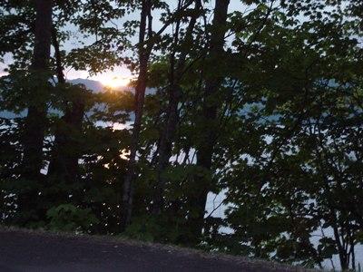 屈斜路湖畔の夕陽