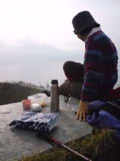 紋別岳山頂にてお茶会