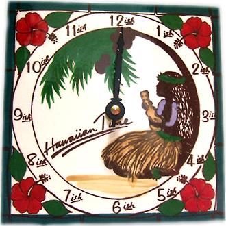 アートタイル時計 フラガールハワイアンタイム