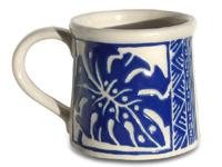 ジェフリーハワイアン陶器の食器 マグカップ モンステラ