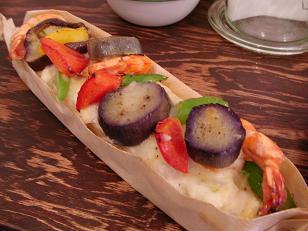 パスト 海老と季節野菜のブルスケッタ1
