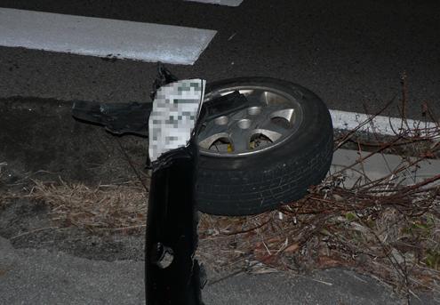 タイヤがもげました。