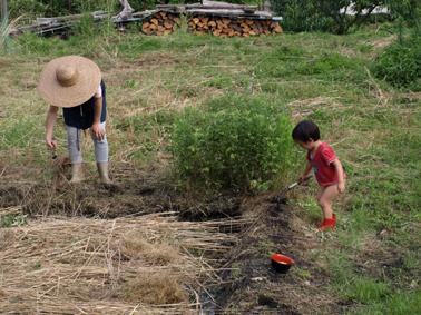 5大豆植える母子