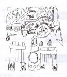 5U太の絵2012023パトカー内部